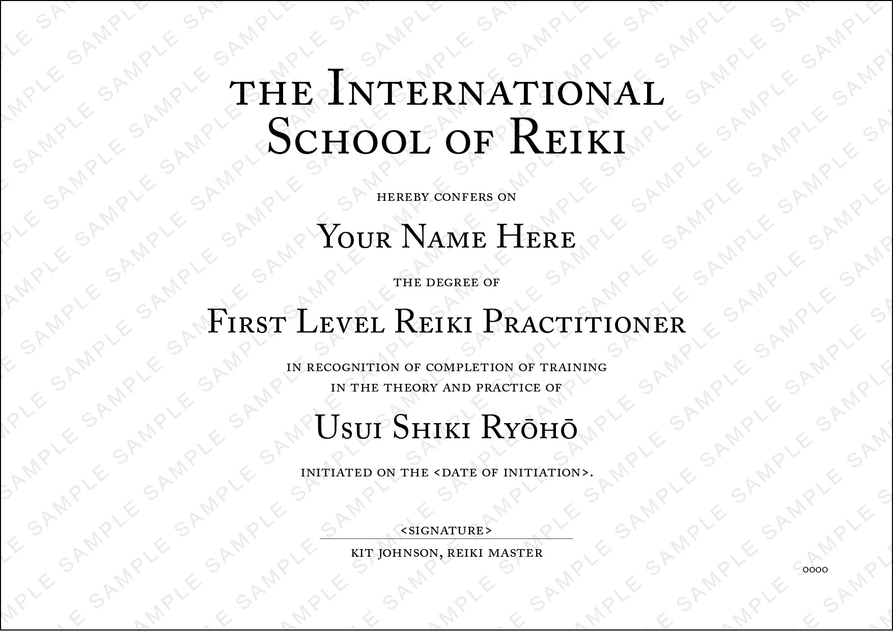 Sample Reiki One Certificate